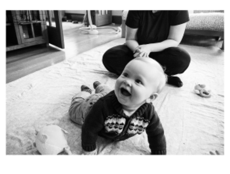 Happy baby on floor